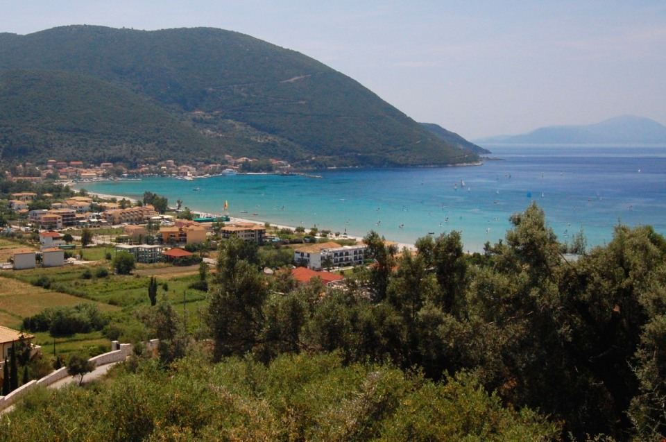 Vassiliki Bay, with Vassiliki village in the distance