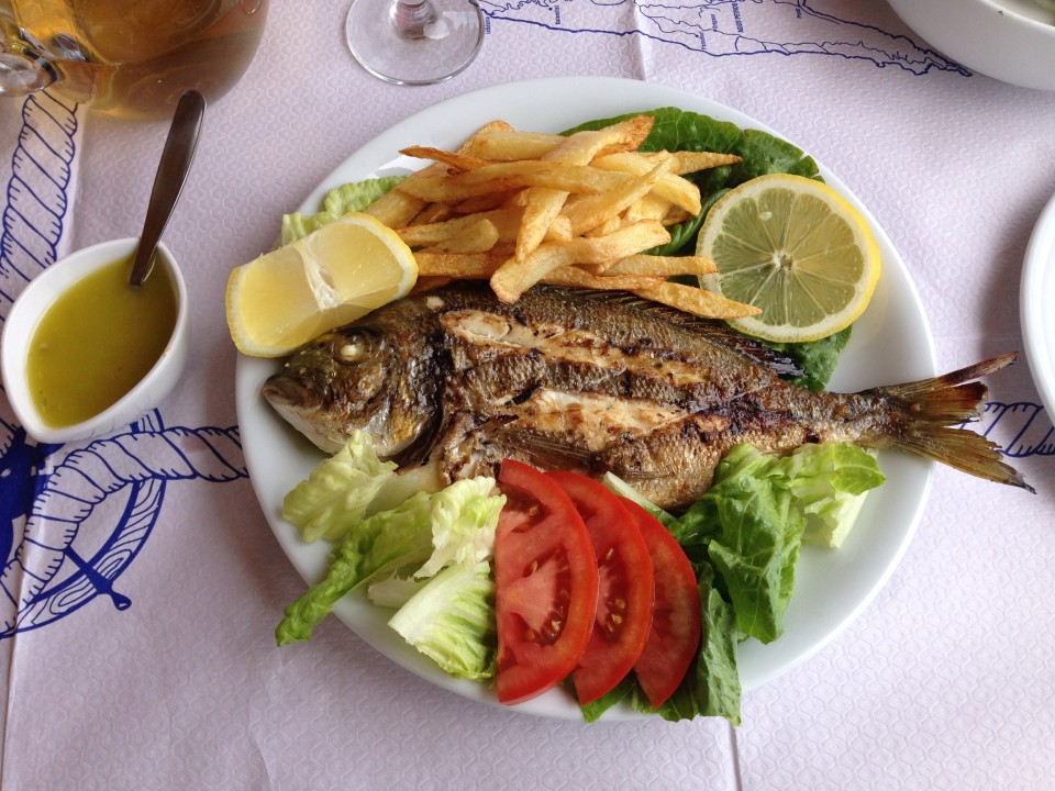 Locally caught grilled fish with hand-cut fries. Impossible to resist.