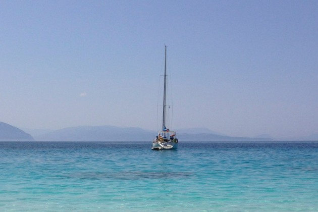 Yacht in Agiofili bay